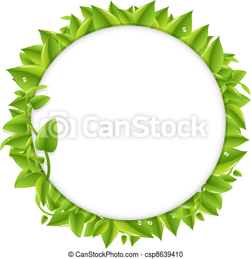 Circle With Green Leafs - csp8639410