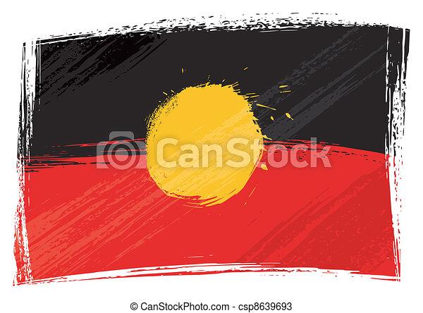 Grunge Aboriginal flag - csp8639693