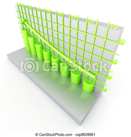 green columns of diagram with arrow rising upwards - csp8639861