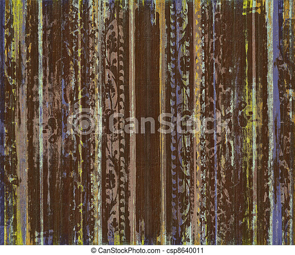 Grungy Brown Scroll Work Wood Stripes - csp8640011