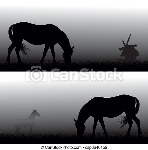 Horse in the fog. Simple gradient - csp8640159