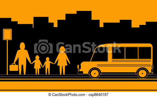 urban landscape with family and bus - csp8640187