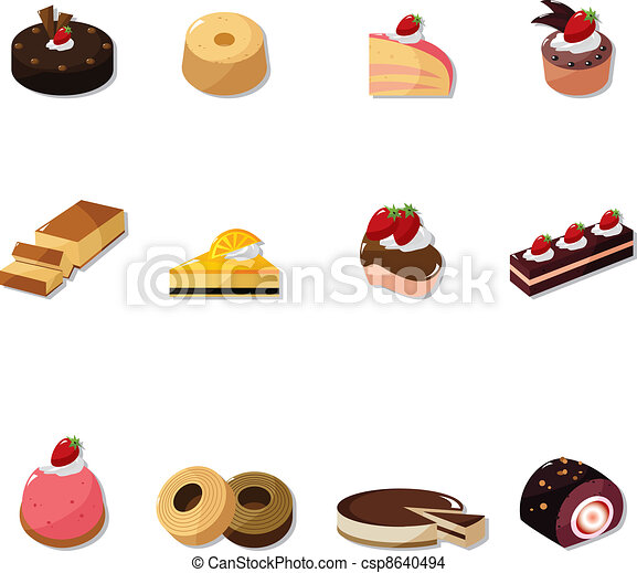 cartoon cake icons set - csp8640494