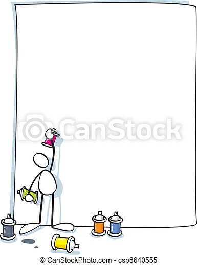 funny artist painting a graffiti - csp8640555