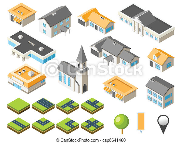 Suburban isometric city kit - csp8641460