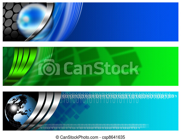 Three Technological Banner blue and - csp8641635