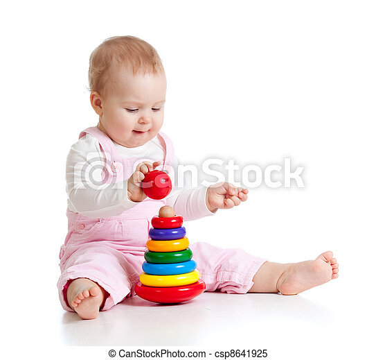 baby girl playing with color developmental toy - csp8641925