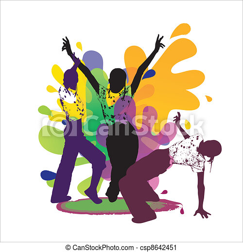 Dancing silhouettes on colored back - csp8642451
