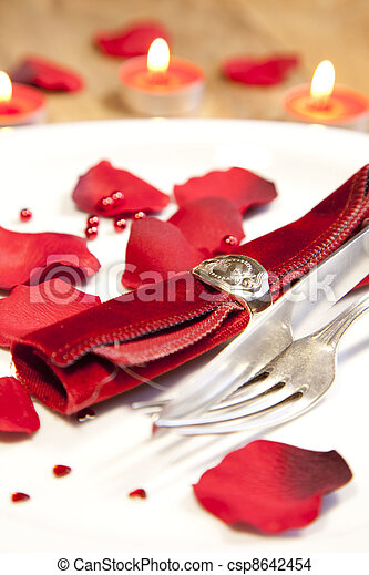 place setting for valentines day - csp8642454