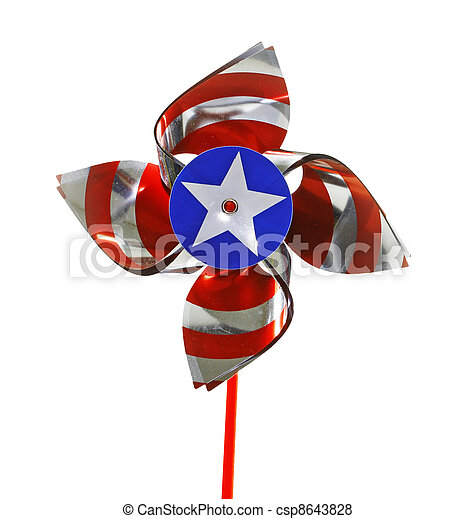 A fourth of July celebratory pinwheel isolated on white. - csp8643828