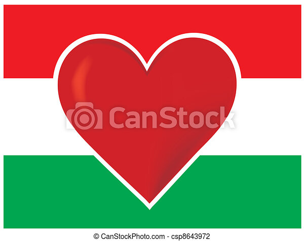 Heart Hungary Flag - csp8643972