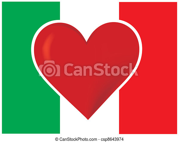 Heart Italy Flag - csp8643974