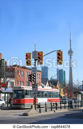 Streetcar scene in Toronto's Chinatown - csp8644078