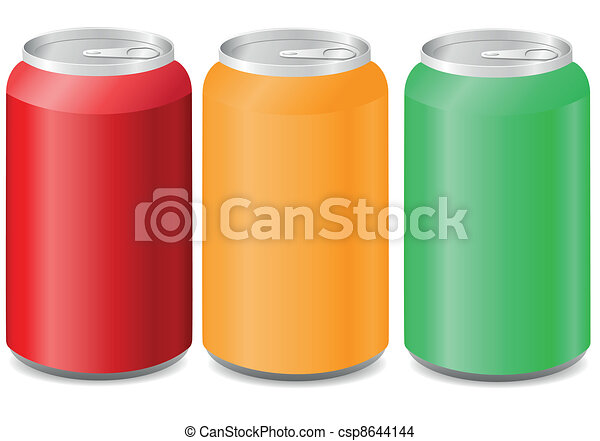 coloured aluminum cans with soda - csp8644144