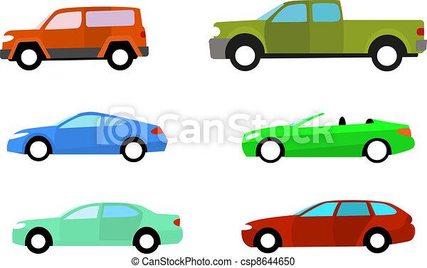 clipart vecteur de couleur voitures blanc ensemble isol couleur csp8644650. Black Bedroom Furniture Sets. Home Design Ideas