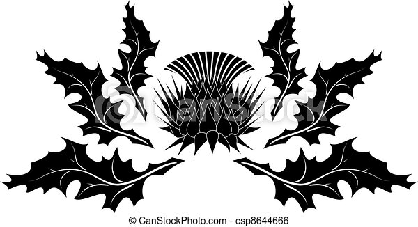 Clip Art Vector of Thistle ornament on white background csp8644666 ...