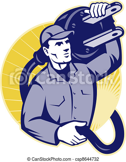 Electrician Worker Holding An Electric Plug - csp8644732