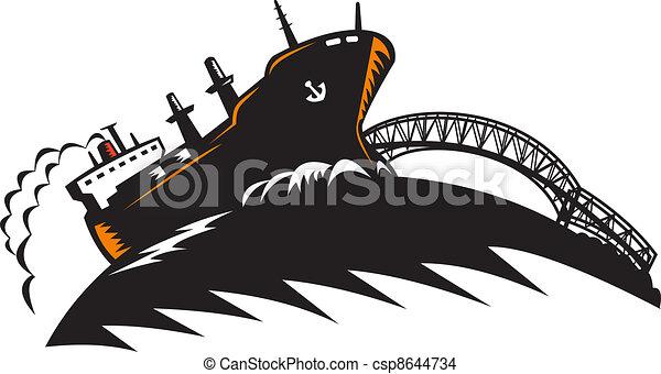 Freighter Cargo Container Ship With Bridge - csp8644734