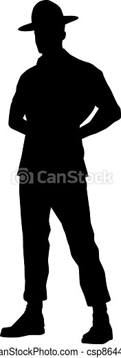 Drill instructor silhouette isolated on white. - csp8644738