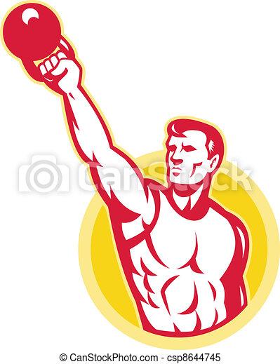 Kettlebell Exercise Weight Training Retro - csp8644745