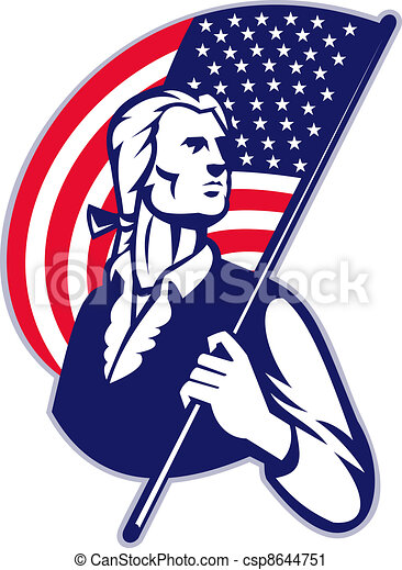 Patriot Minuteman With American Stars and Stripes Flag - csp8644751