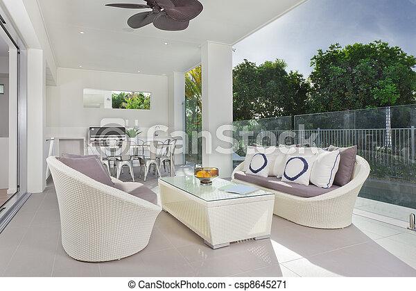Modern under cover patio - csp8645271