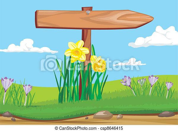 early morning - wooden signpost - csp8646415