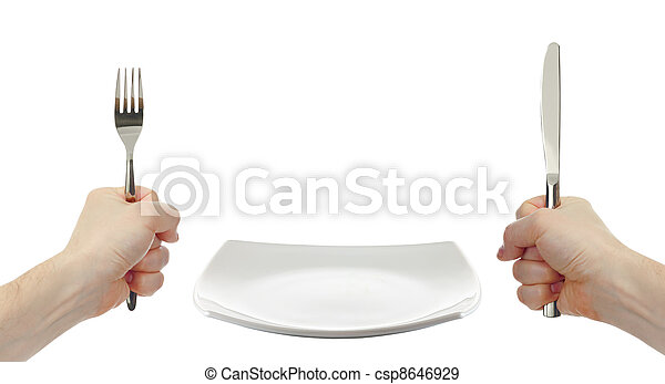 white square plate, knife and fork cutlery in hands isolated - csp8646929