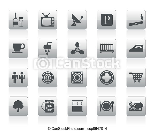 Hotel and Motel objects icons - csp8647014