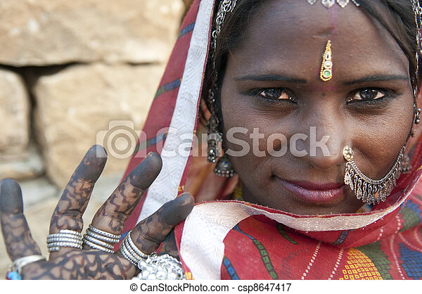 Portrait of a India Rajasthani woman - csp8647417