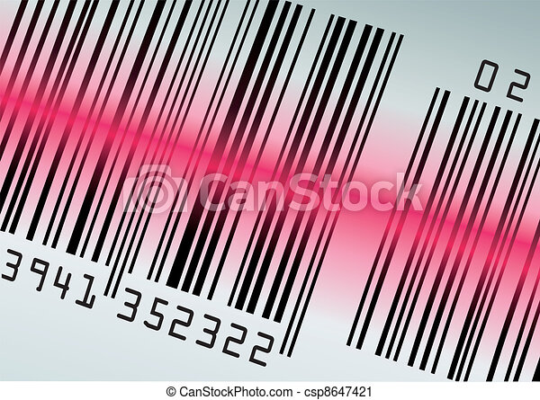 Barcode with red laser beam - csp8647421
