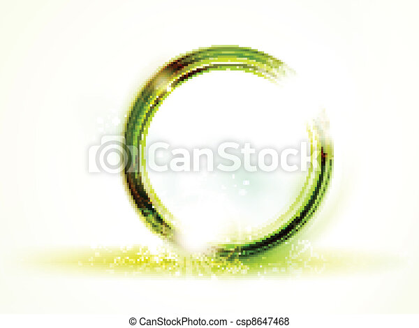 Abstract round green vector frame on light background - csp8647468