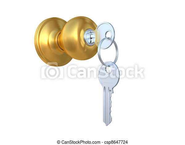 The door handle with the lock and a key - csp8647724