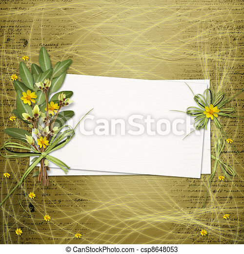 Card for invitation or congratulation with bunch of flowers and twigs - csp8648053