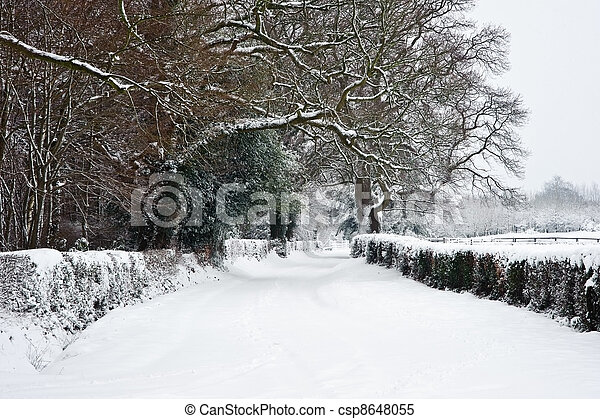 Path through English rurual countryside in Winter with snow - csp8648055