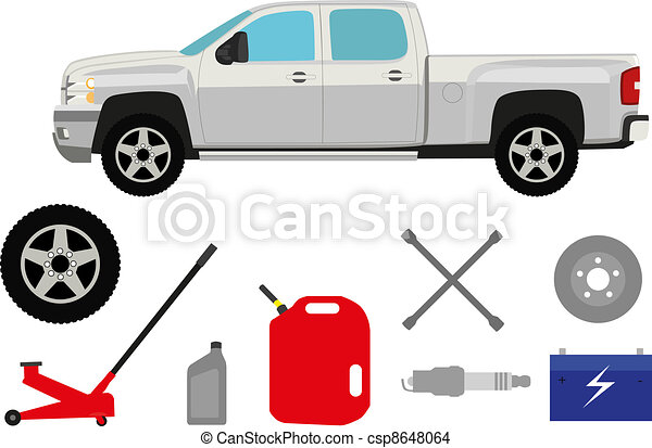 Pick-up truck with group of repair shop elements - csp8648064