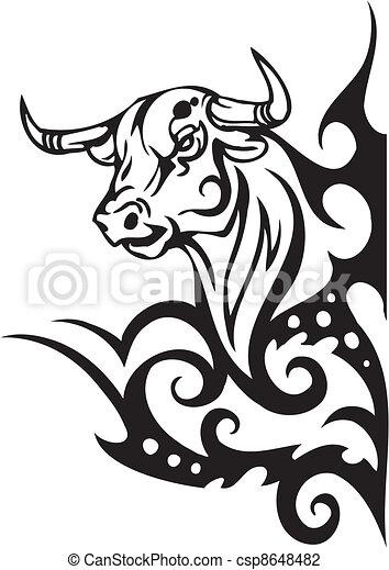 Illustration vecteur de style image tribal vecteur - Dessin de toro ...
