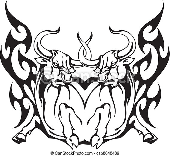 Bull in tribal style - vector image. - csp8648489
