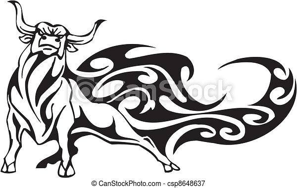 Bull in tribal style - vector image. - csp8648637