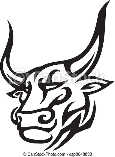 Bull in tribal style - vector image. - csp8648838