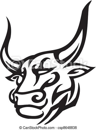 Vecteur de style image tribal vecteur taureau noir et blanc csp8648838 - Dessin tete taureau ...