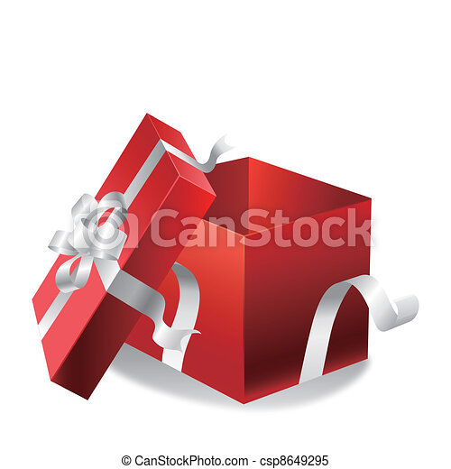 Clipart Vector of open gift box on a white - EPS 10 ...