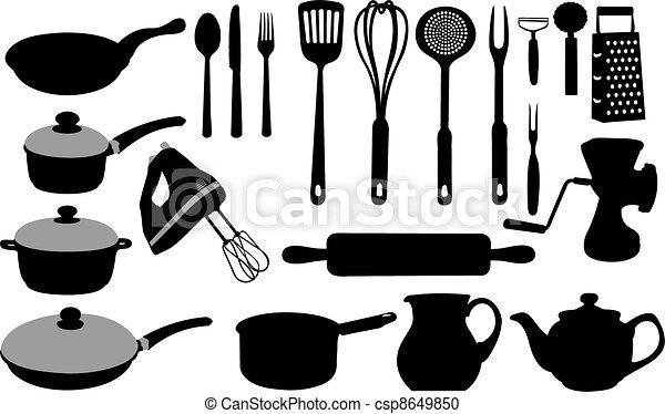 Vector clip art de utensilios cocina conjunto de for Utensilios de cocina logo