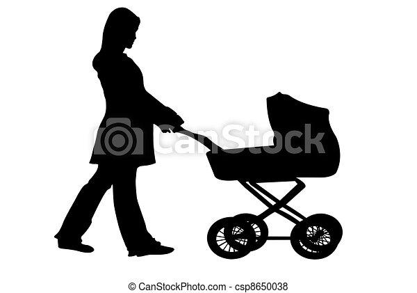 Illustration de poussette silhouette de a femme - Poussette dessin ...