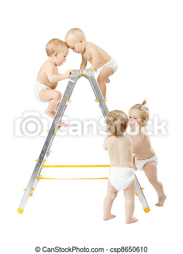 Group of babies climbing on stepladder and fighting for first place over white background. Competition concept. Isolated over white - csp8650610