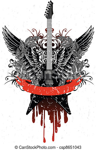 guitar with wings, patterns - csp8651043
