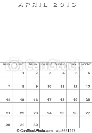 abril, 2013, calendario, plantilla - csp8651447