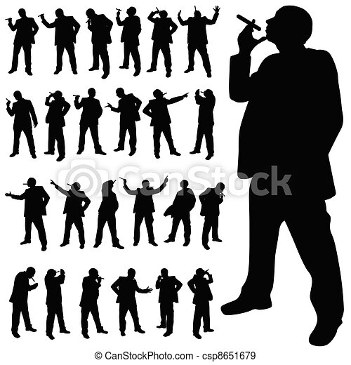 man with a cigarette in various poses black silhouette - csp8651679