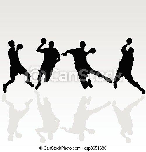 handball black player illustration on white - csp8651680