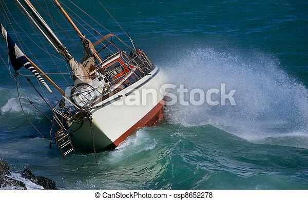 yacht crash on the rocks - csp8652278